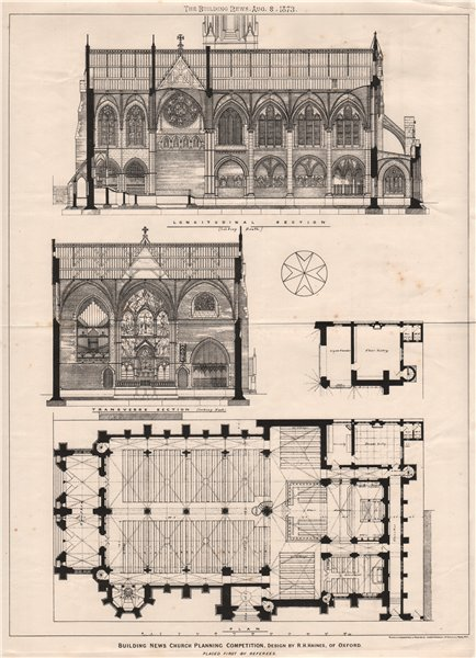Associate Product Building News Church planning competition, design R.H. Haines, Oxford 1873