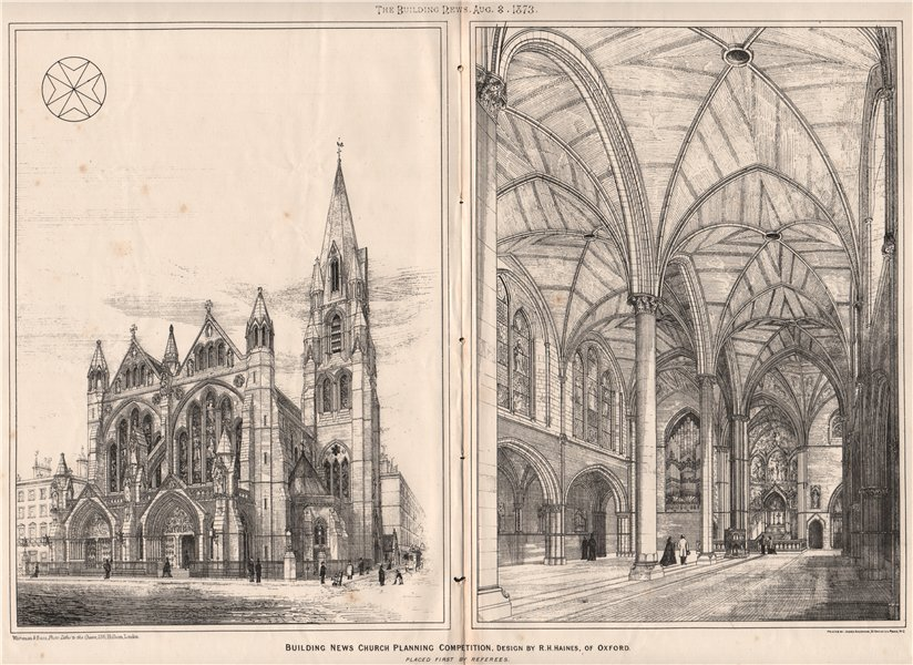 Associate Product Building News Church planning competition, design R.H. Haines, Oxford (2) 1873