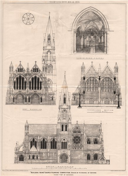 Associate Product Building News Church planning competition, design by R.H. Haines, of Oxford 1873