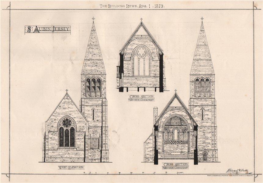 Associate Product St. Aubin Jersey; west elevation. Channel Islands 1873 old antique print