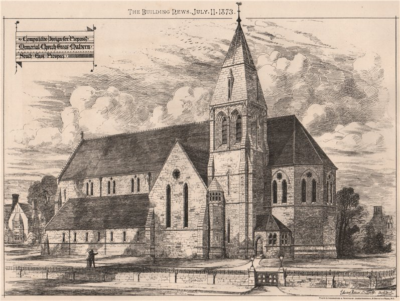 Associate Product Proposed Memorial Church, Great Malvern, SE prospect. Worcestershire 1873
