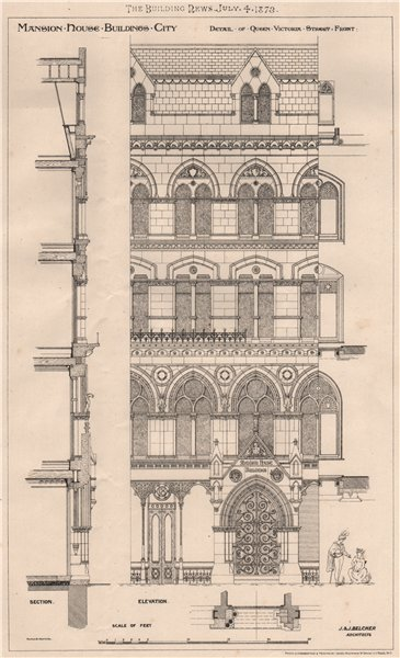 Associate Product Mansion House buildings, City; Queen Victoria Street; Belcher Architects 1873