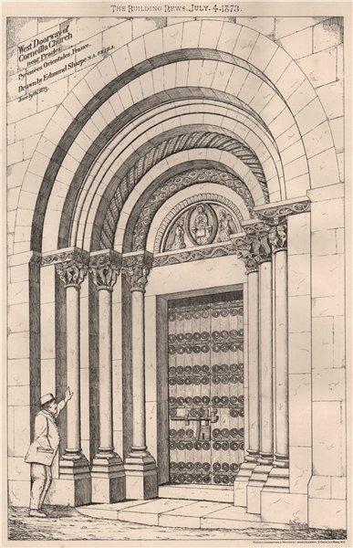 Associate Product Doorway, Corneilla Church nr Prades, Pyrénées-Orientales 1873 old print