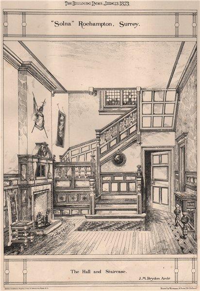"Associate Product ""Solna"", Roehampton, Surrey; The Hall & Staircase; J.M. Brydon, Architect 1873"