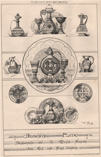 Associate Product Domestic plate designed by B. Moyr Smith for Fox & Sons London 1873 old print