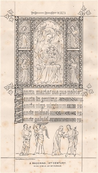 Associate Product A Madonna - 14th Century. In facsimile by Mr. Purdue. Religious 1873 old print
