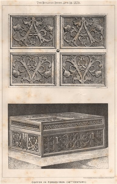 Associate Product Coffer in forged iron (16th Century). Design 1873 old antique print picture
