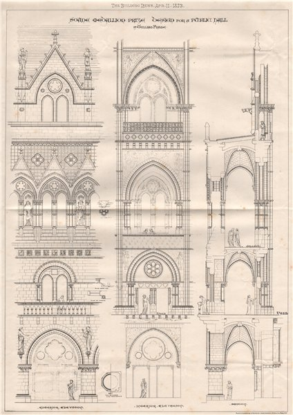 Associate Product Soane Medallion Prize design for a Public Hall; by William Frame 1873 print