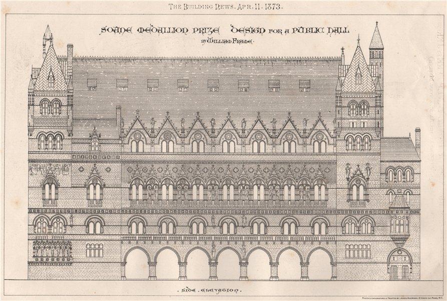 Associate Product Soane Medallion Prize design for a public hall; William Frame; side 1873 print