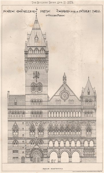 Associate Product Soane Medallion Prize design for a public hall; William Frame; front 1873