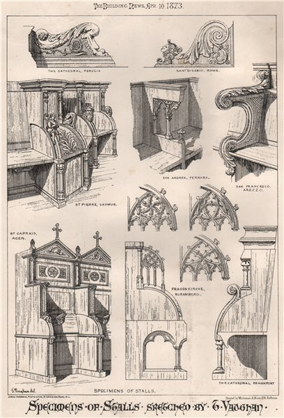 Associate Product Specimens of stalls; sketched by T. Vaughan. Design 1873 old antique print