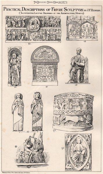 Associate Product Practical descriptions of figure sculpture 2; J.F. Redfern 1873 old print