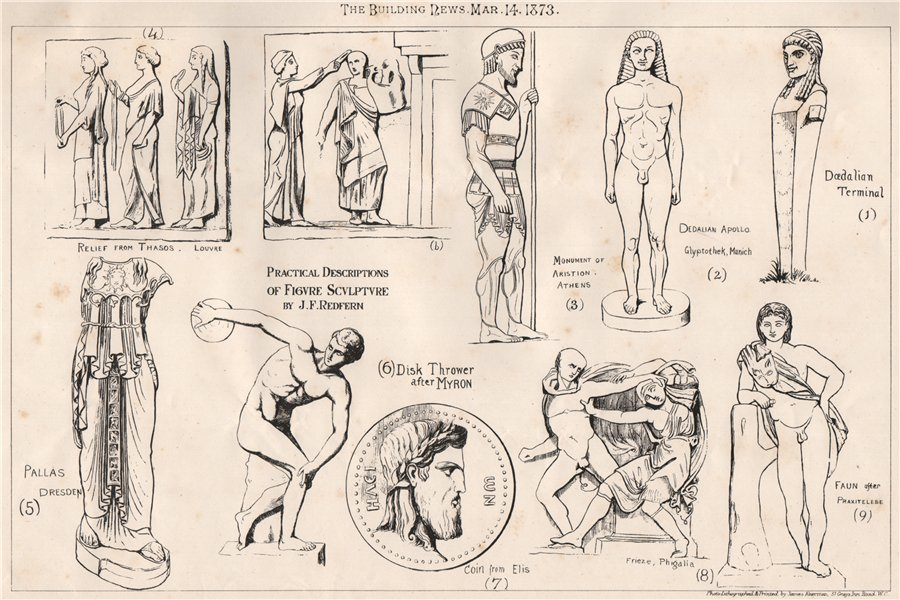 Associate Product Practical Description of figure sculpture by J.F. Redfern. Decorative 1873