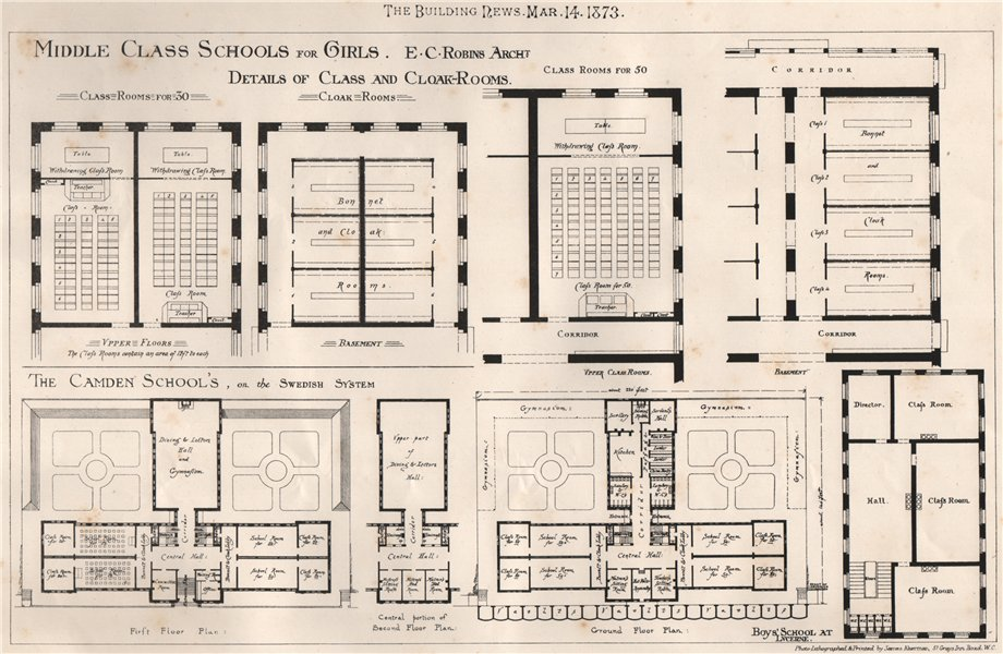 Associate Product Middle Class Schools for Girls; class & cloakrooms; E.C. Robins, Architect 1873