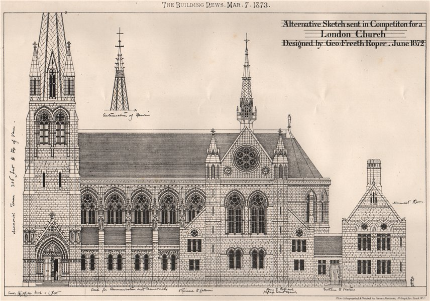 Associate Product Sketch for a London church; designed by Geo. Freeth Roper 1873 old print