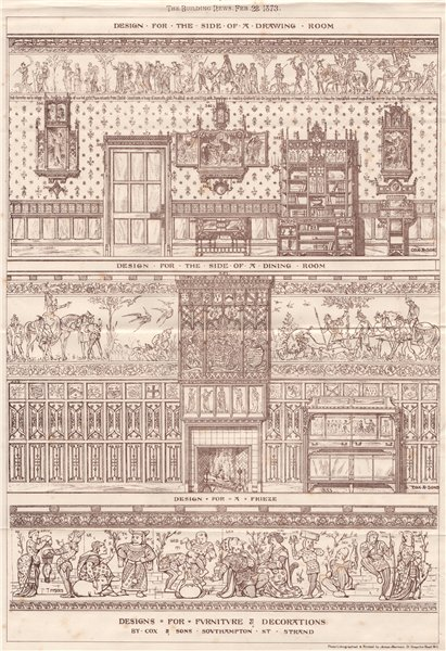 Associate Product Dining room frieze furniture decorations designs by Cox & Sons 1873 old print