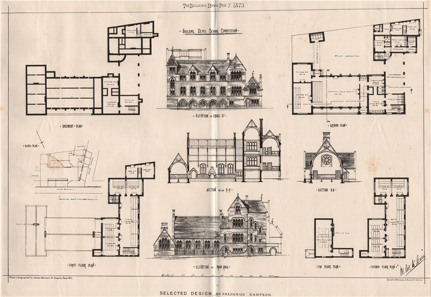 Associate Product Building News school competition. Selected design by Frederick Sampson 1873