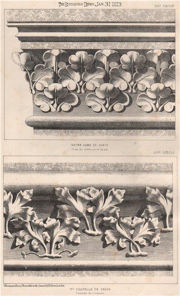 Associate Product Notre Dame de Paris; St. Chapelle de Paris - corniche de l'Oratoire 1873 print