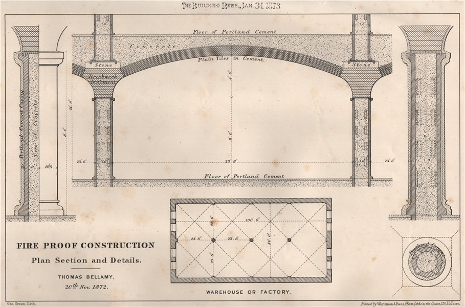 Associate Product Fire proof construction plan section & details; Thomas Bellamy 1873 old print