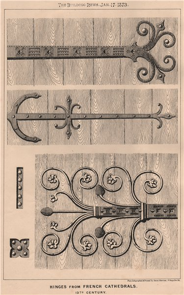 Associate Product Hinges from French cathedrals; 13th Century. Buildings 1873 old antique print