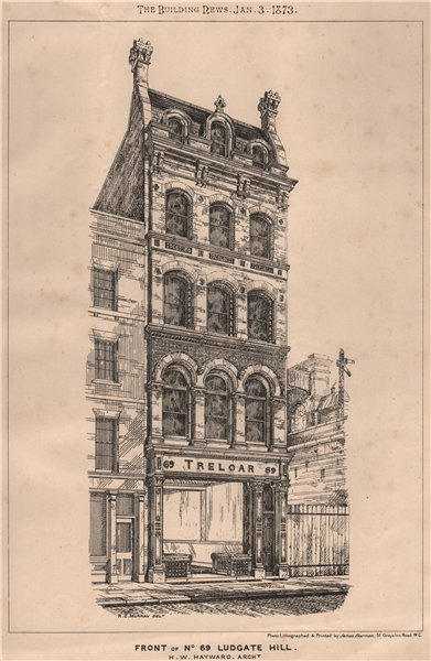 Associate Product Front of No. 69 Ludgate Hill; H.W. Hayward, Architect. London 1873 old print