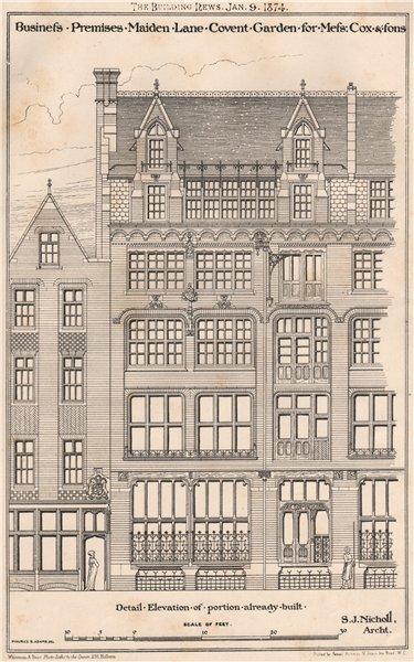 Associate Product Cox & Sons business premises, Maiden Lane, Covent Garden; SJ Nicholl Archt 1874