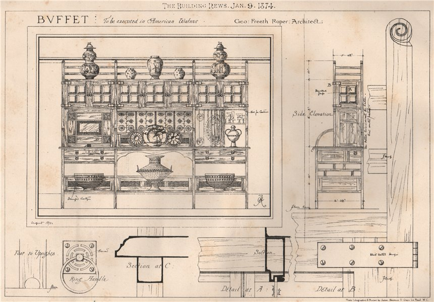 Associate Product Buffet to be executed in American Walnut; Geo Freeth Roper, Architect 1874