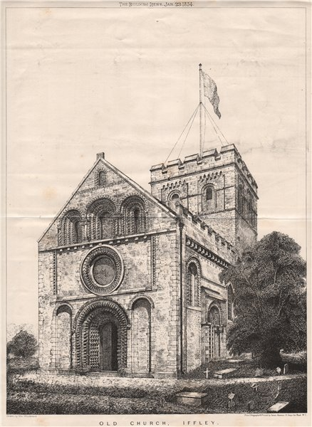 Associate Product Old Church, Iffley. Oxfordshire 1874 antique vintage print picture