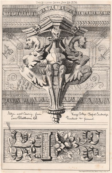 Associate Product Italian wood carving, Kings College Chapel, Cambridge 1874 old antique print