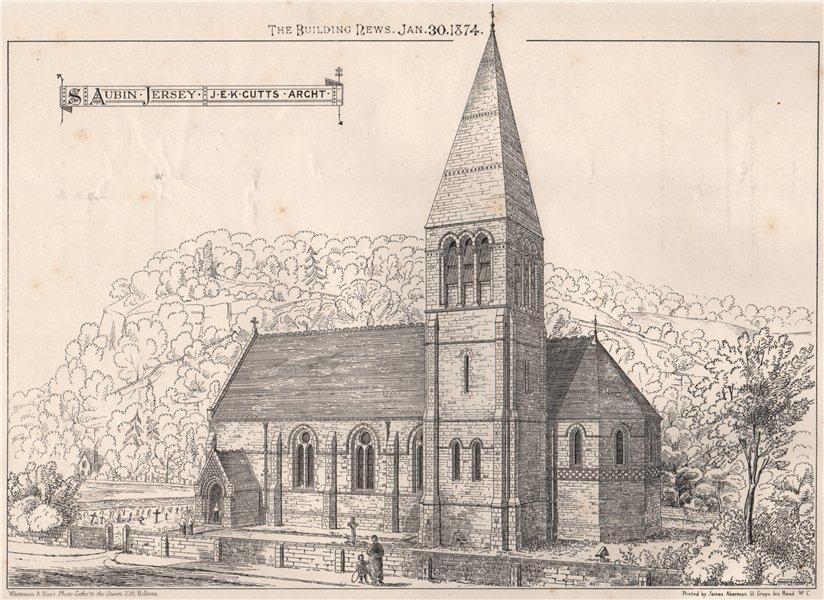 St. Aubin, Jersey J.E.K. Cutts, Architect. Channel Islands 1874 old print