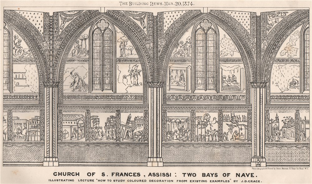 Associate Product Church of St. Frances, Assissi. Two bays of nave 1874 old antique print