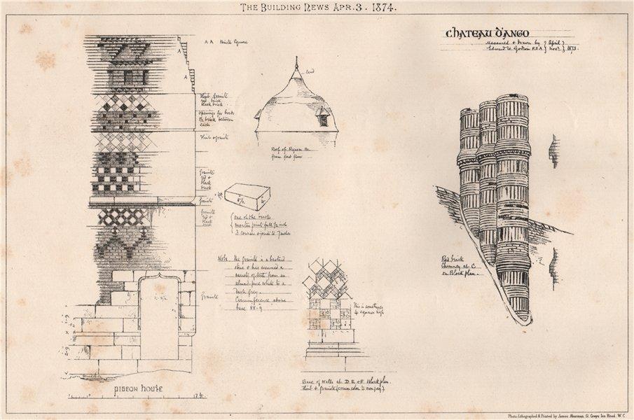 Associate Product Chateau d'Ango. Seine-Maritime 1874 old antique vintage print picture