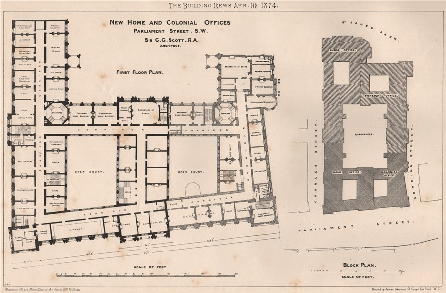 Associate Product New Home & Colonial Offices Parliament Street. Sir G.G. Scott Architect 1874