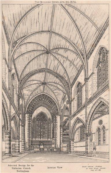 Associate Product Unitarian Church interior, Nottingham; Staurt Colman, Architect 1874 old print
