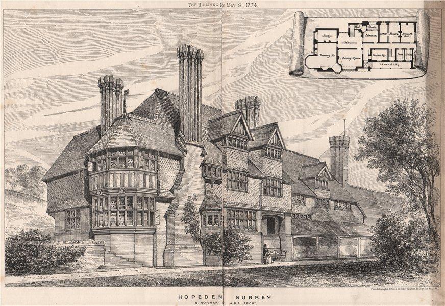 Hopeden, Surrey; R. Norman Sv, A.R.A. Architect 1874 old antique print picture