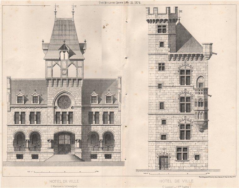 Associate Product Town halls - Mantzeim, Germany & Luxeuil, Haute-Saône 1874 old antique print