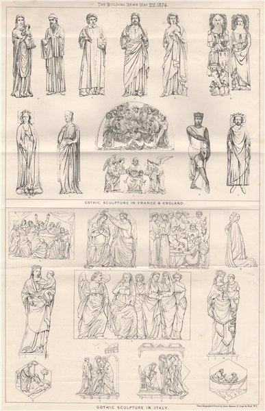 Associate Product Gothic sculpture in France & England; Gothic sculpture in Italy 1874 old print