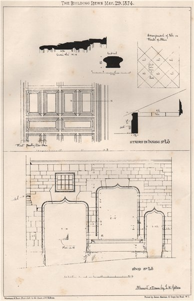 Associate Product Stairs in house, St. Lô; Shop, St. Lô. Manche 1874 old antique print picture