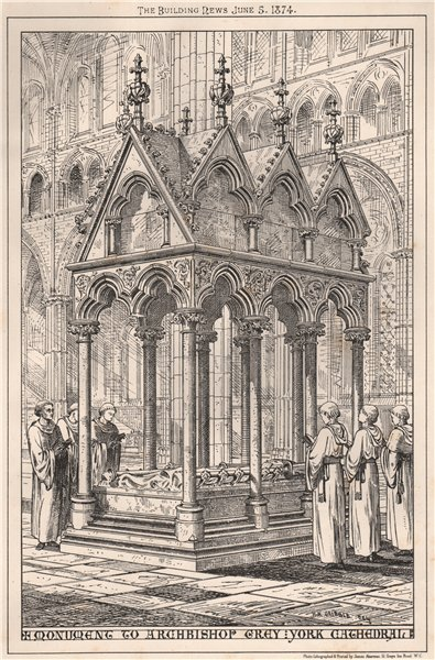 Associate Product Monument to Archbishop Grey York, Cathedral. Yorkshire 1874 old antique print