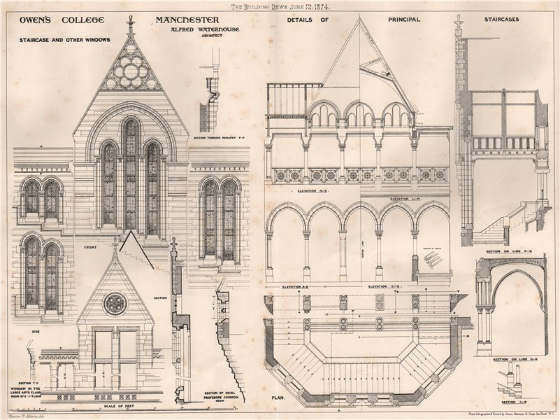 Associate Product Owen's College, Manchester. Staircase windows; Alfred Waterhouse 1874 print