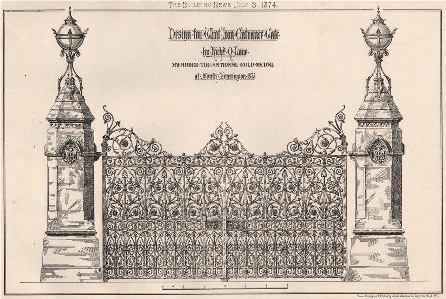 Associate Product Iron entrance gate by. Richd Q. Lane 1874 old antique vintage print picture