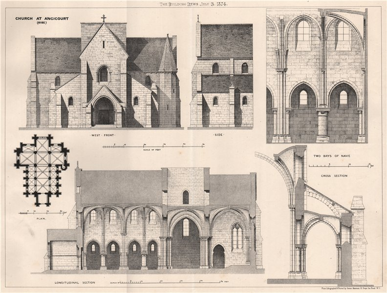 Associate Product Church at Angicourt (Oise) 1874 old antique vintage print picture