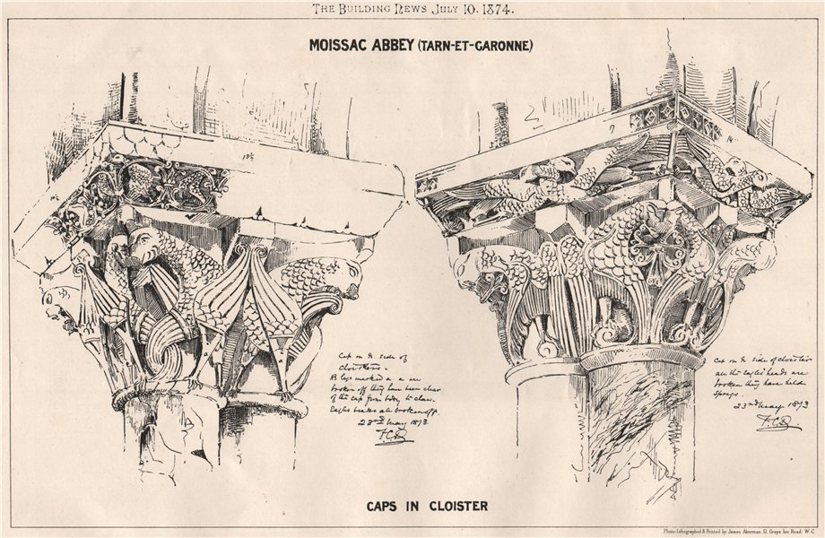 Associate Product Moissac Abbey (Tarn-et-Garonne); Caps in cloister 1874 old antique print