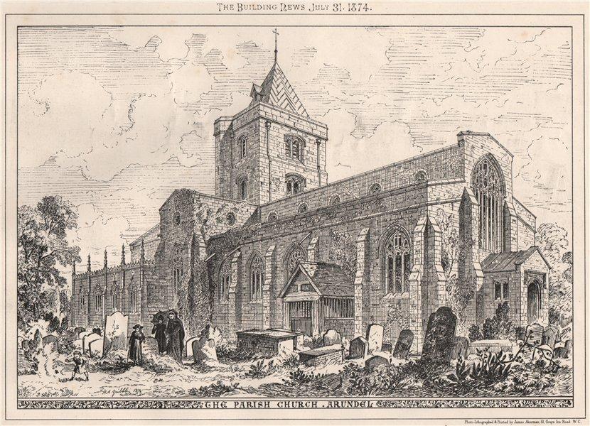 The Parish Church, Arundel. Sussex 1874 old antique vintage print picture