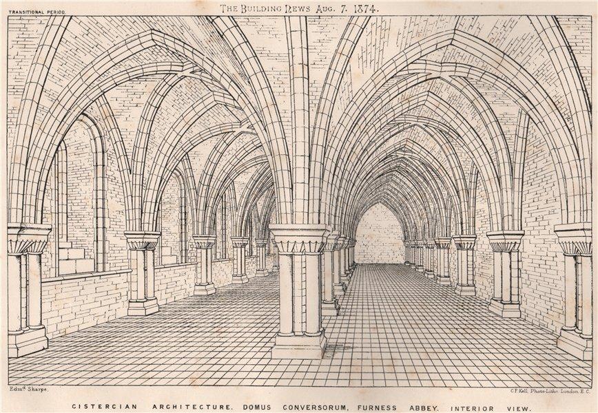 Associate Product Cistercian Archture Domus Conversorum, Furness Abbey interior view. Cumbria 1874
