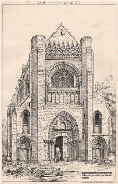 Associate Product Abbey Church at Ardennes nr Caen, now used as a barn. Calvados 1874 old print