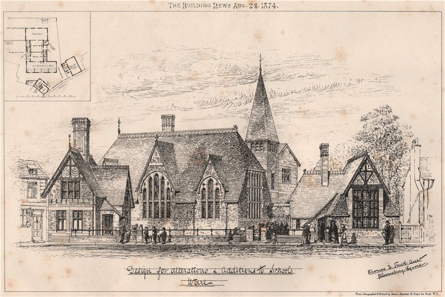 Associate Product Design for alteration & additions to schools work. Education 1874 old print