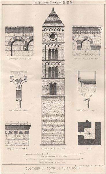 Associate Product Clocher dit Tour de Puisalicon (Herault). Hérault 1874 old antique print