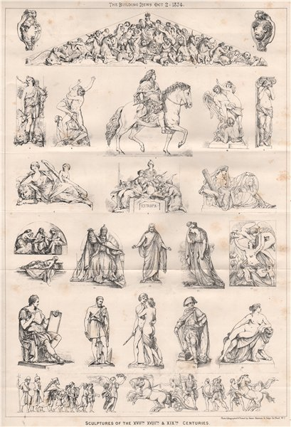 Associate Product Sculptures of the XVIIth., XVIIIth., XIXth. Centuries. Decorative 1874 print