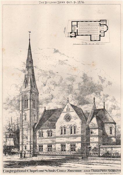 Associate Product Congregational Chapel & Schools, Goole, Yorkshire; Thomas Porter 1874 print
